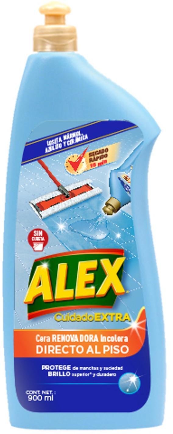 ALEX Cera Renovadora Incolora Directo al Piso es el tratamiento ideal para RECUPERAR el brilo y el color de tus pisos de loseta, mármol, azulejo o cerámica como el primer día.